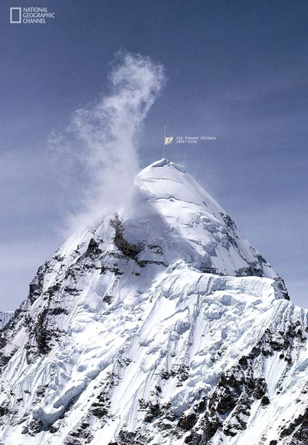 hommage national geographic a Sir Edmund Hillary